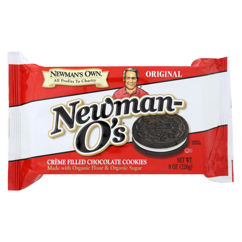 Newman's Own Organics Creme Filled Chocolate Cookies - Vanillailla - Case of 6 - 8 oz