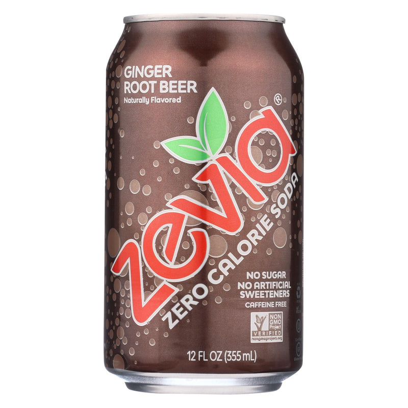 Zevia Soda - Zero Calorie - Ginger Root Beer - Can - 6-12 oz - Case of 4