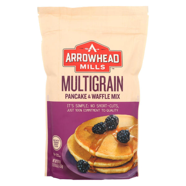 Arrowhead Mills Pancake and Waffle Mix - Natural Multigrain - Case of 6 - 26 oz