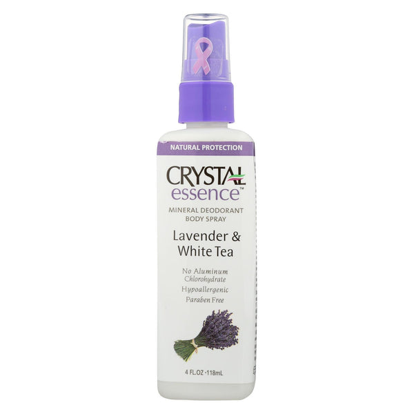 Crystal Essence Mineral Deodorant Body Spray Lavender and White Tea - 4 fl oz