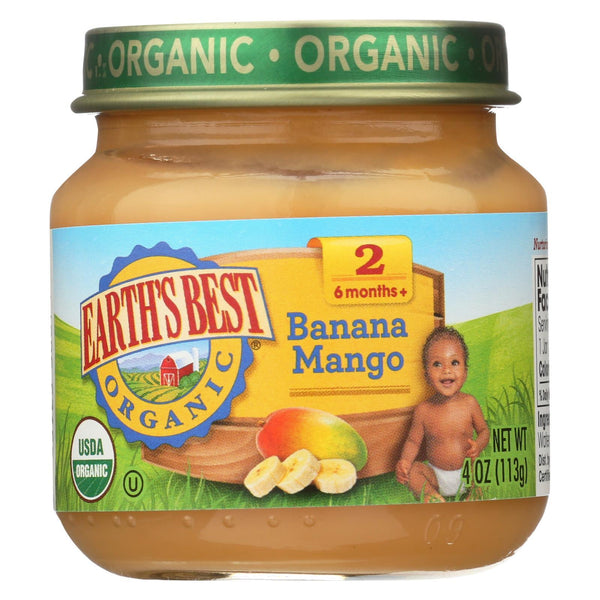 Earth's Best Organic Banana Mango Baby Food - Stage 2 - Case of 12 - 4 oz