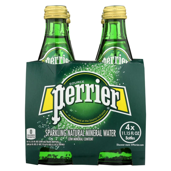 Perrier Sparkling Natural Mineral Water - Plain - Case of 6 - 11 fl oz