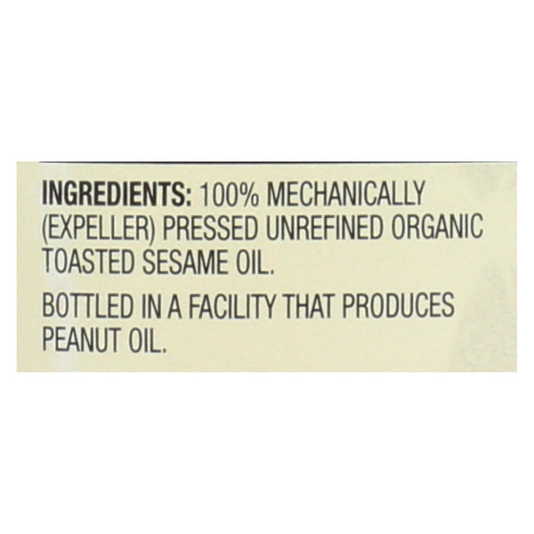 Spectrum Naturals Organic Unrefined Toasted Sesame Oil - Case of 6 - 8 fl oz