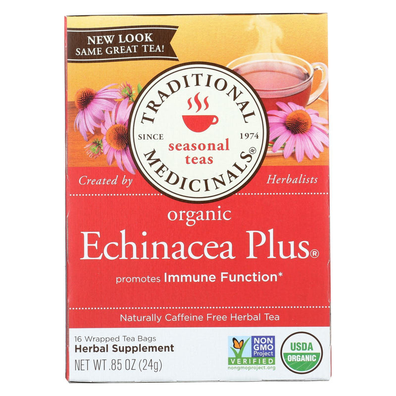 Traditional Medicinals Organic Echinacea Plus Herbal Tea - 16 Tea bags - Case of 6