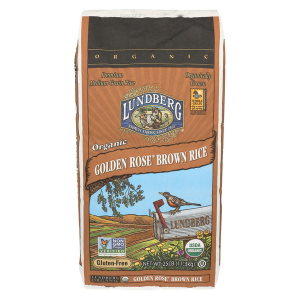 Lundberg Family Farms Organic Golden Rose Medium Grain Brown Rice - Case of 25 - 1 lb