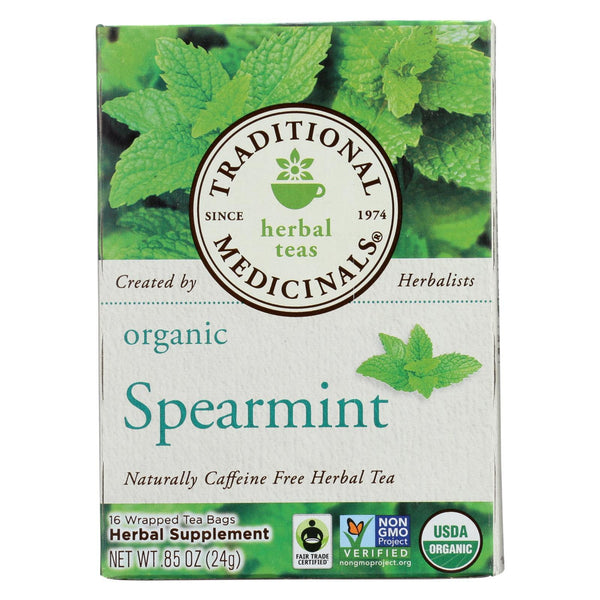 Traditional Medicinals Organic Spearmint Herbal Tea - 16 Tea bags - Case of 6