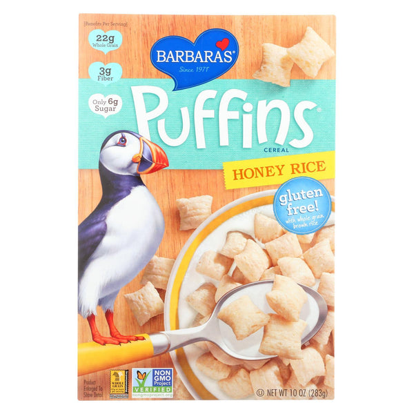 Barbara's Bakery Puffins Cereal - Honey Rice - Case of 12 - 10 oz