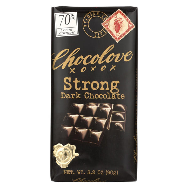 Chocolove Xoxox Premium Chocolate Bar - Dark Chocolate - Strong - 3.2 oz bars - Case of 12