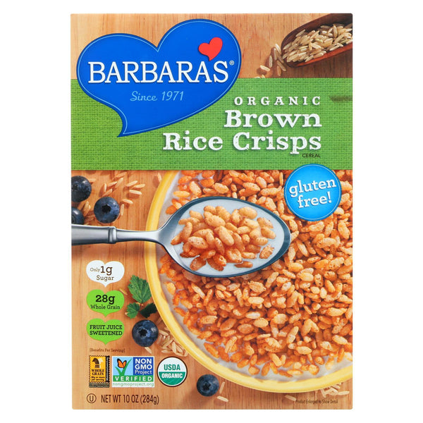 Barbara's Bakery Brown Rice Crisps - Fruit Juice Sweetened Cereal - Case of 6 - 10 oz