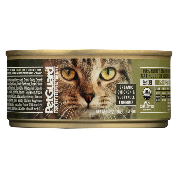 Petguard Cats Food - Organic Chicken and Vegetable - Case of 24 - 5.5 oz