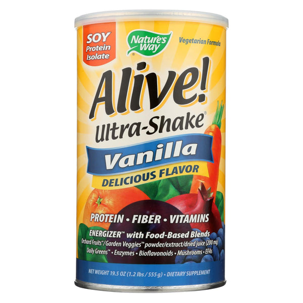 Nature's Way Alive Soy Protein Ultra-shake Vanillailla - 21 oz