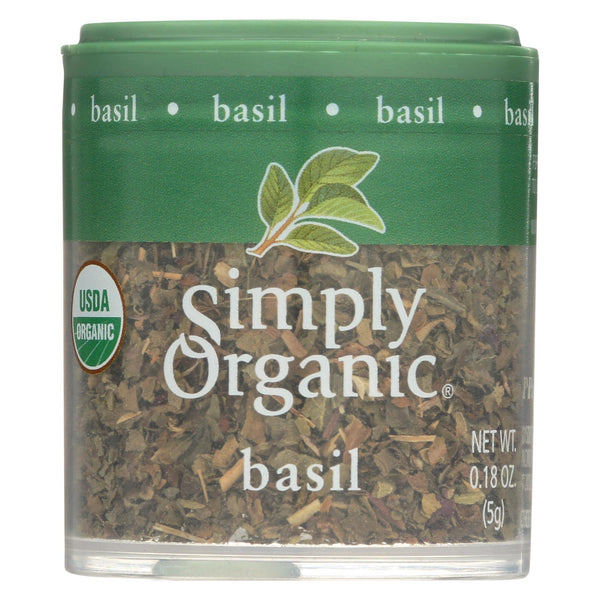 Simply Organic Basil Leaf - Organic - Sweet - Cut and Sifted - 0.18 oz - Case of 6