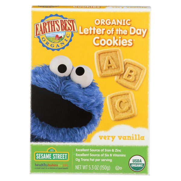 Earth's Best Organic Letter Of The Day Very Vanillailla Cookies - Case of 6 - 5.3 oz