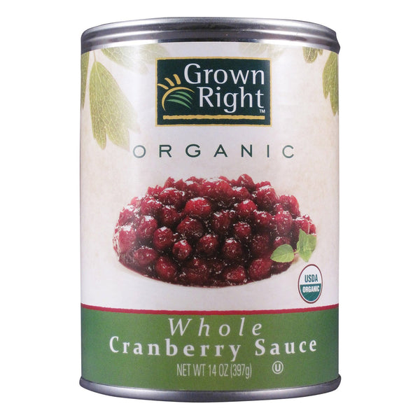 Grown Right Organic Sauce - Whole Cranberry - Case of 24 - 14 oz