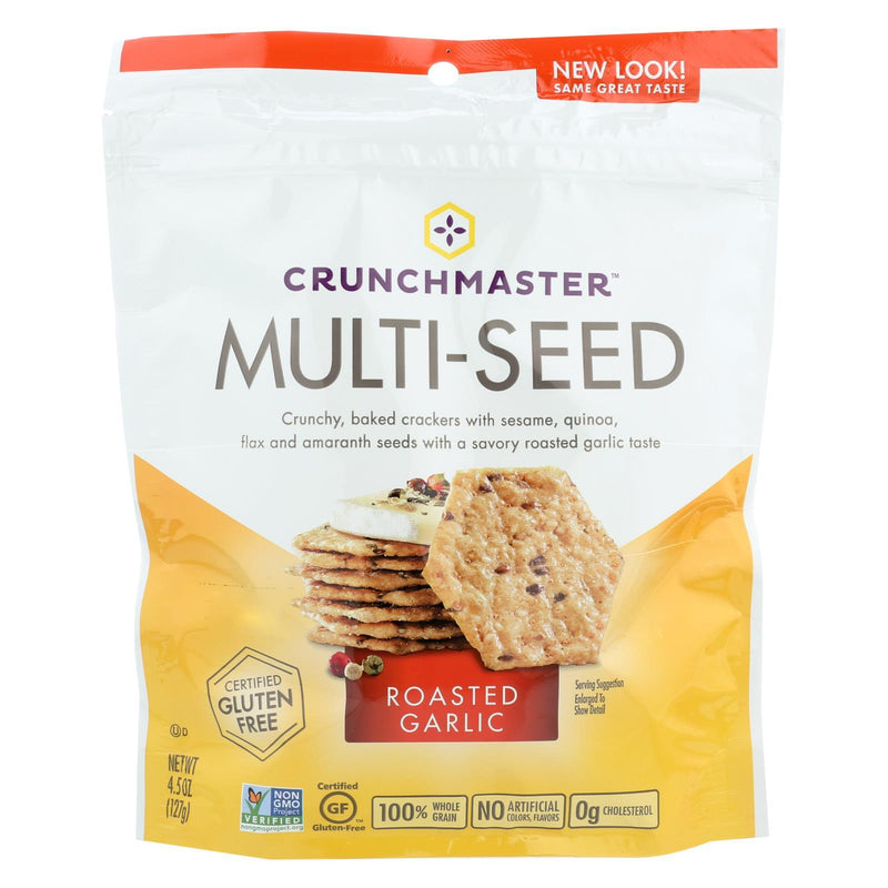 Crunchmaster Multi-seed Crackers - Roasted Garlic - Case of 12 - 4.5 oz