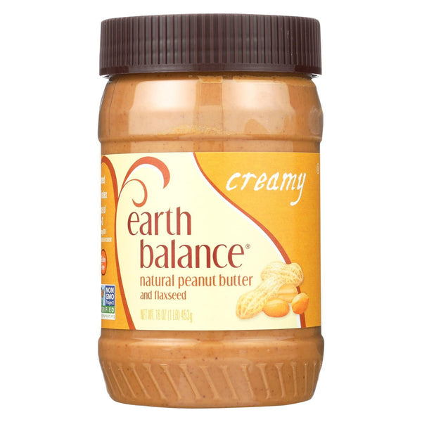 Earth Balance Creamy Peanut Butter and Flaxseed - Case of 12 - 16 oz