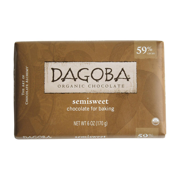 Dagoba Organic Chocolate Semisweet Dark Chocolate Baking Bar - Case of 10 - 6 oz