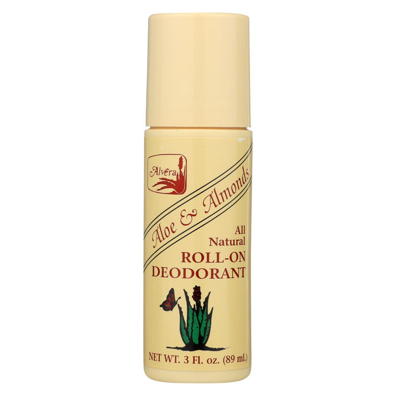 Alvera All Natural Roll-on Deodorant Aloe and Almonds - 3 oz