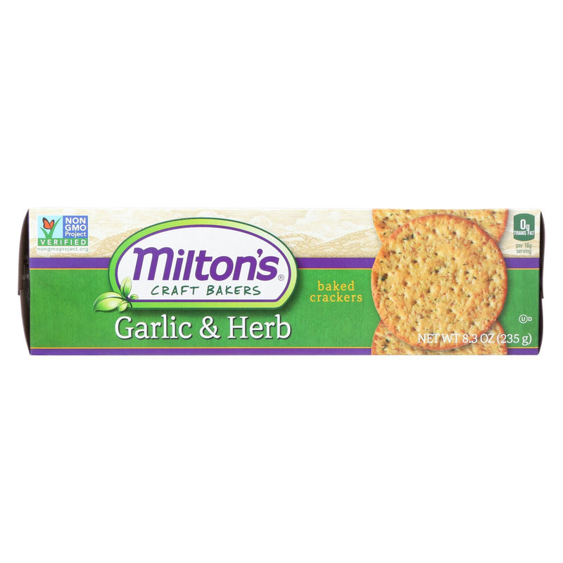 Milton's Crackers - Roasted Garlic and Herbs - Case of 12 - 8.3 oz