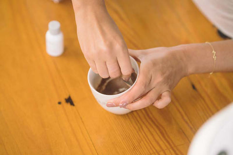 mixing clay face mask