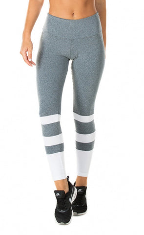 PINK SUN - Heather Stripe Supplex Compress F/L Leggings