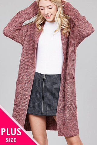 e5f1fd2dc3 Ladies fashion plus size dolmen sleeve open front w patch pocket marled sweater  cardigan