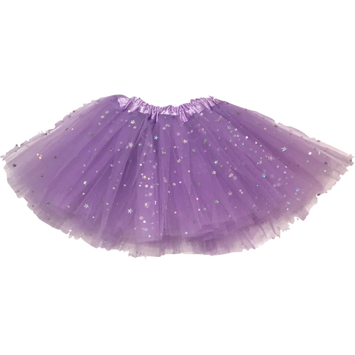 Girl Tutu in Lavender with Silver Stars