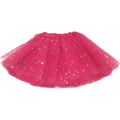 Girl Tutu in Hot Pink and Silver Stars