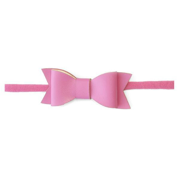 Leather Bow Headband in Hot Pink