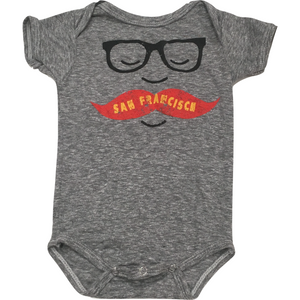 San Francisco Mustache Onesie in Grey