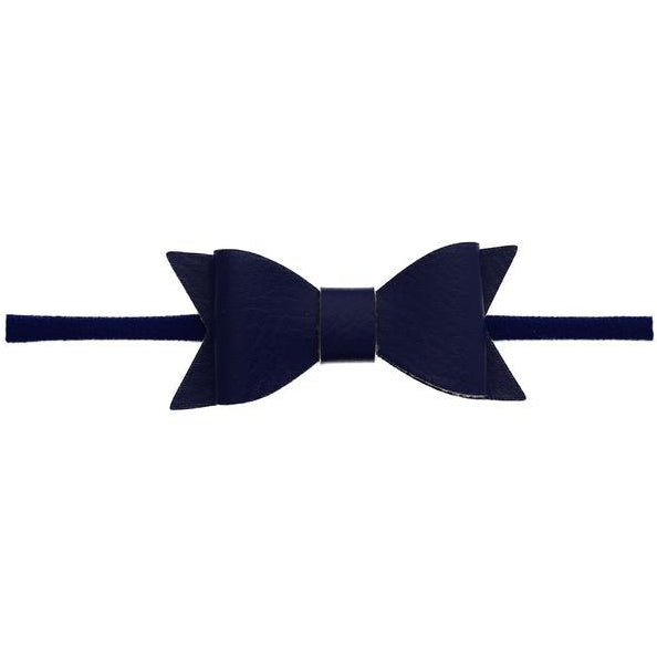 Leather Bow Headband in Navy