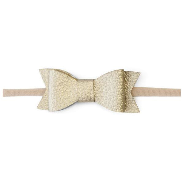 Leather Bow Headband in Metallic Gold