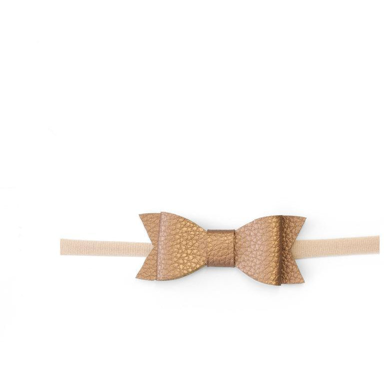 Leather Bow Headband in Copper