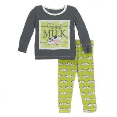 Kickee Pajama Set in Meadow Cow