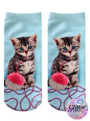 Living Royal Glitter Kitten Ankle Socks