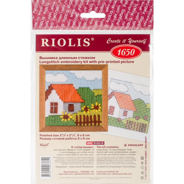 "Stamped Cross Stitch Kit 2.25"" x 2.25"" Cottage Garden"