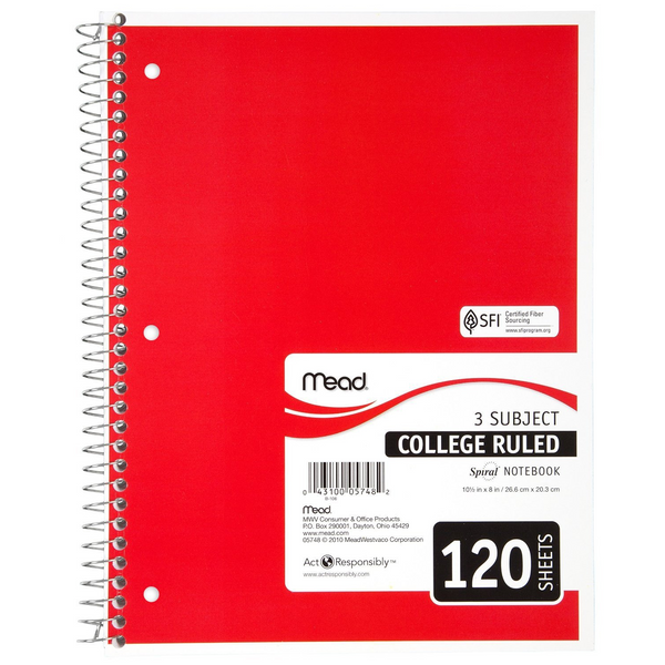 Mead 3 Subject Ruled Notebook