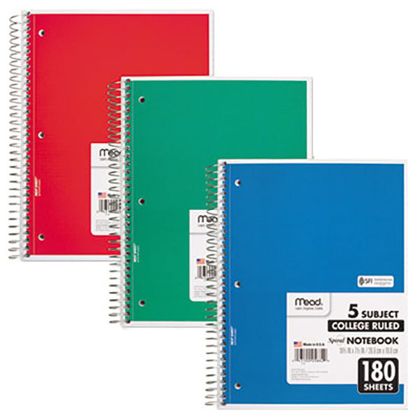 Mead 5 Subject Ruled Notebook