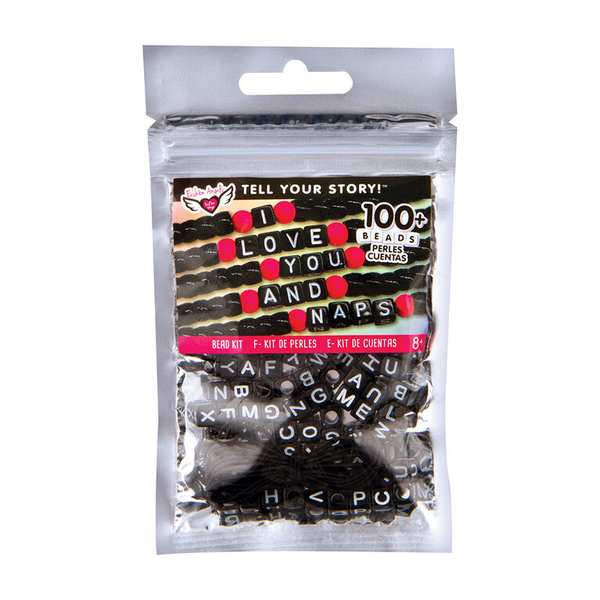 Alphabet Bead Bag Black Cubes