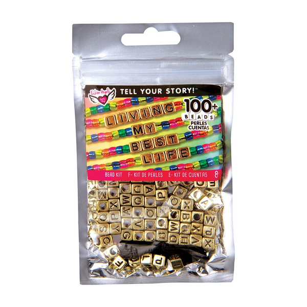 Alphabet Bead Bag Gold Cubes