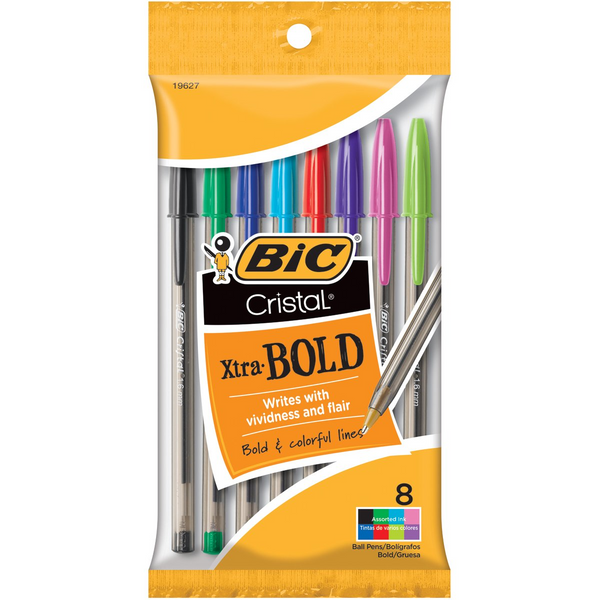 Cristal Xtra Bold Ball Pens, 1.6 mm, Assorted Ink, 8 Pack