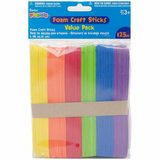 Foamies Craft Sticks - Bright Colors - 6 inches - 125 pieces