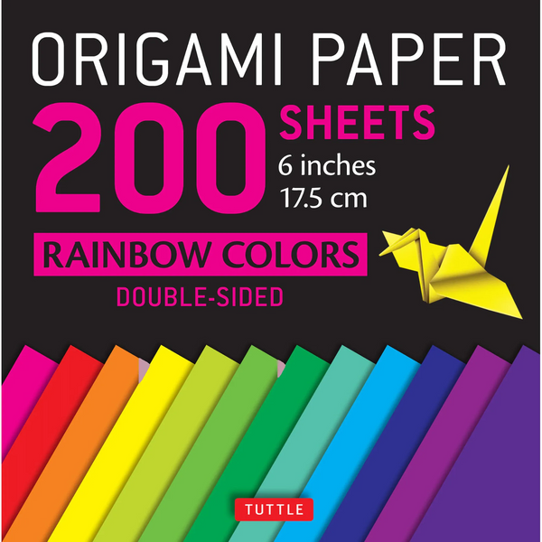 Origami Paper 200 Sheets Rainbow Colors 6""