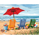 "Paint By Number 14"" x 11"" Beach Chair Trio"
