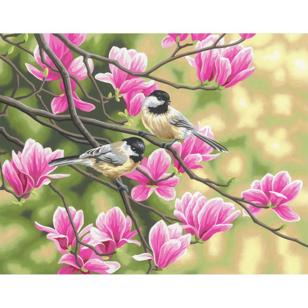 "Paint By Number 14""x 11"" Chickadees & Magnolias"