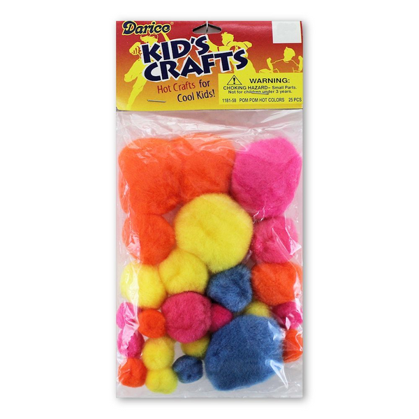 Pom Poms Hot Colors Assorted 25 Piece
