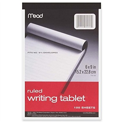 "Writing Tablet 100 Sheets 6"" x 9"""