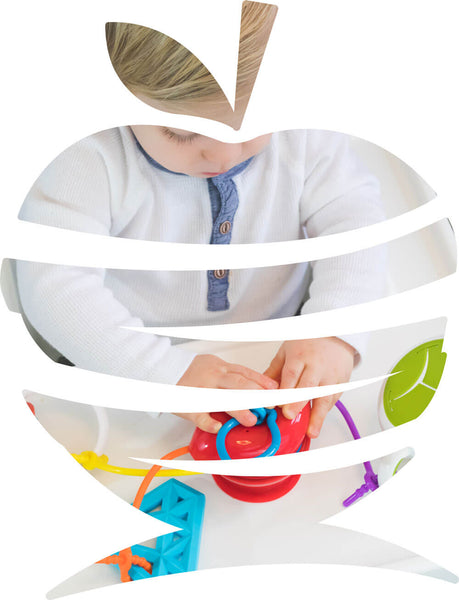 The Grapple<sup>®</sup> toy tether is an apple-shaped, adjustable toy holder that suctions to any smooth surface and holds your baby's favorite toys with silicone straps.