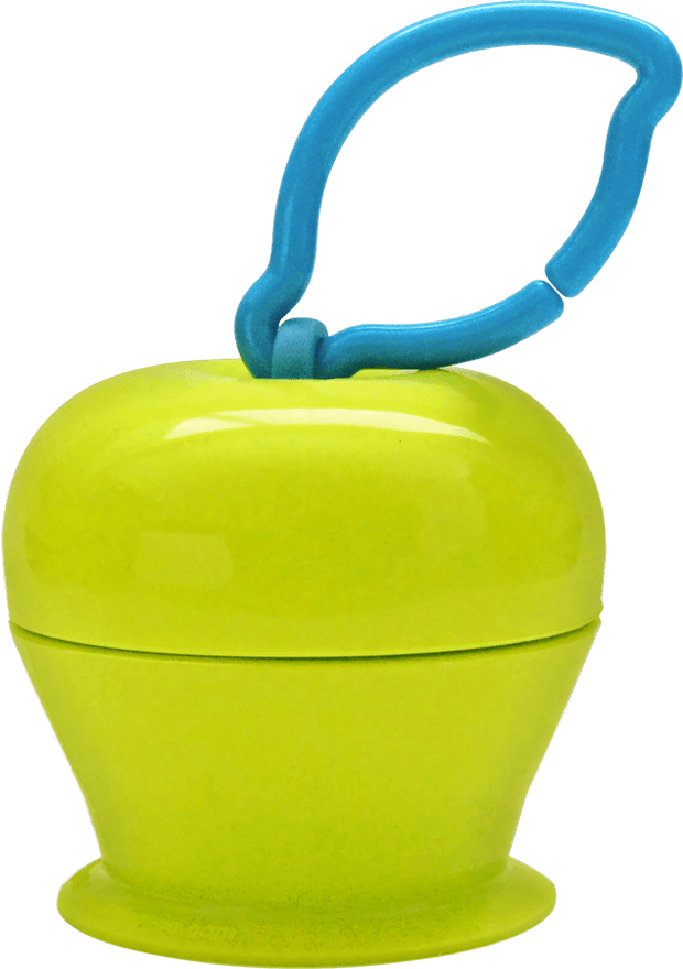 The Grapple® toy tether is a green, apple-shaped adjustable toy holder that suctions to any smooth surface and holds your baby's favorite toys with silicone straps.