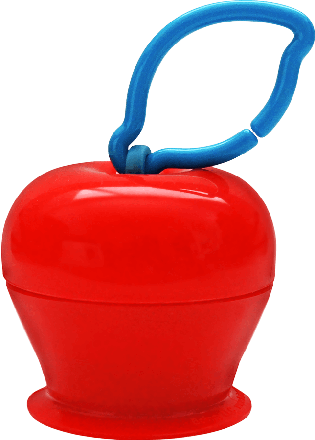 The Grapple® toy tether is a red, apple-shaped adjustable toy holder that suctions to any smooth surface and holds your baby's favorite toys with silicone straps.